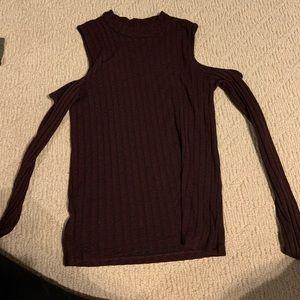 red cold shoulder top